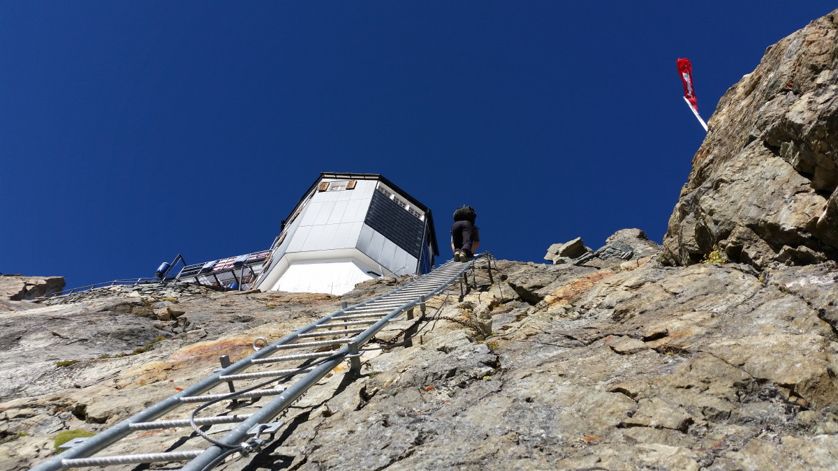 Photo of the final ladder to the Cabane de Bertol above Arolla, Valais, Switzerland