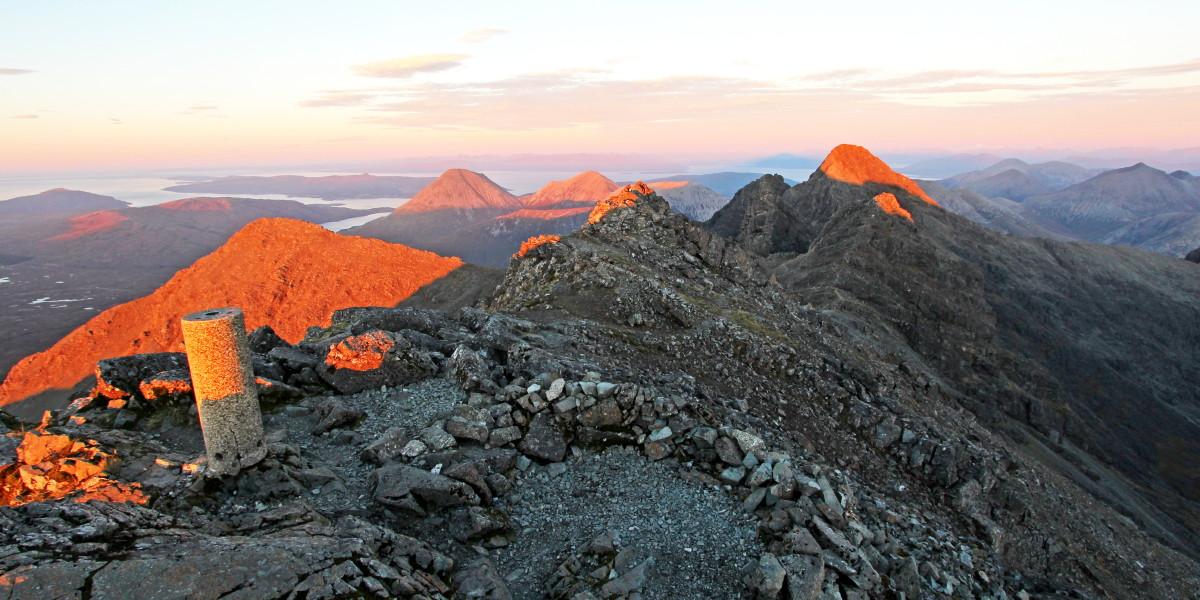Northern Cuillin Lit by Setting Sun, Skye