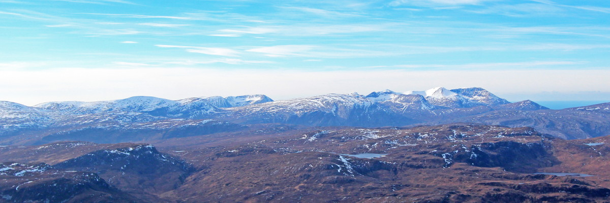 Photo of the view of the Sutherland icons Foinaven and Arkle from Ben Hope