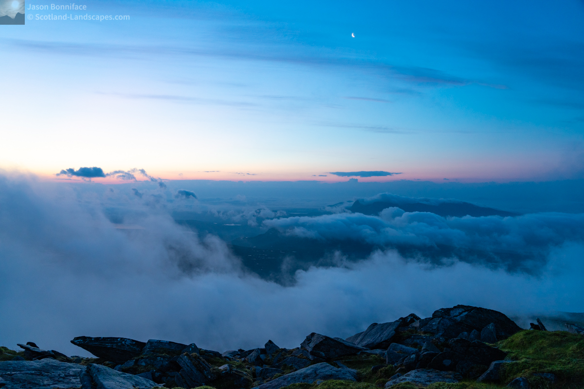 Around the summit of Ben Hope at 4:20 am; waiting for sunrise, checking out the light