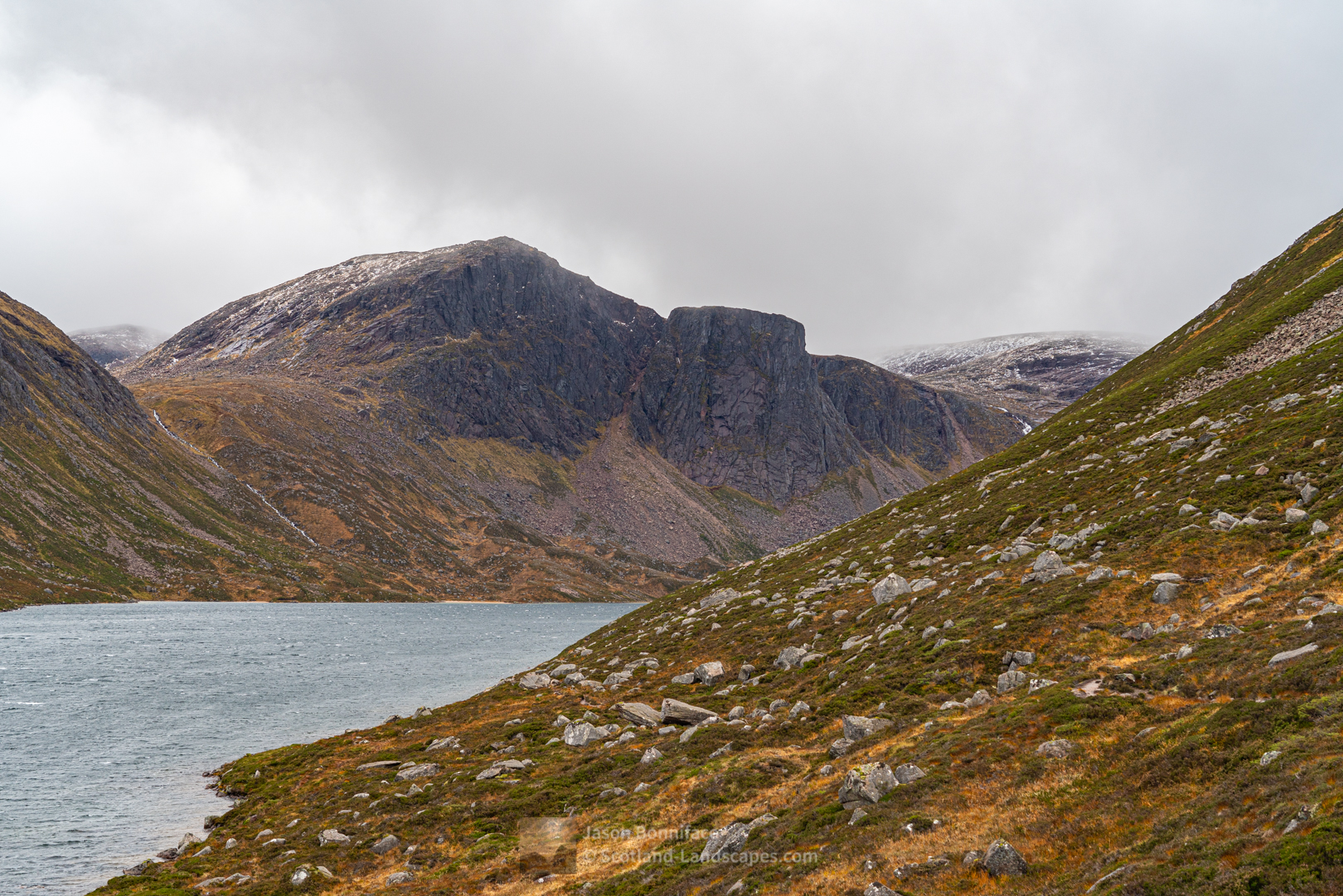 Photo of Carn Etchachan and Shelter Stone Crag from below The Saddle towards the west end of Loch Avon