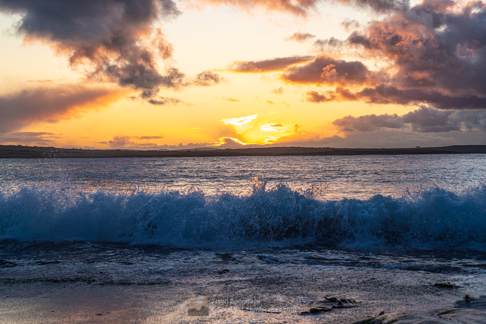 Sunset and surf at Peedie Beach