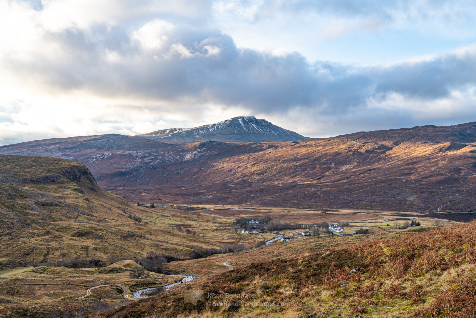 Canisp rises above Inchnadamph from the path to Poll an Droighinn, the River Traligill below