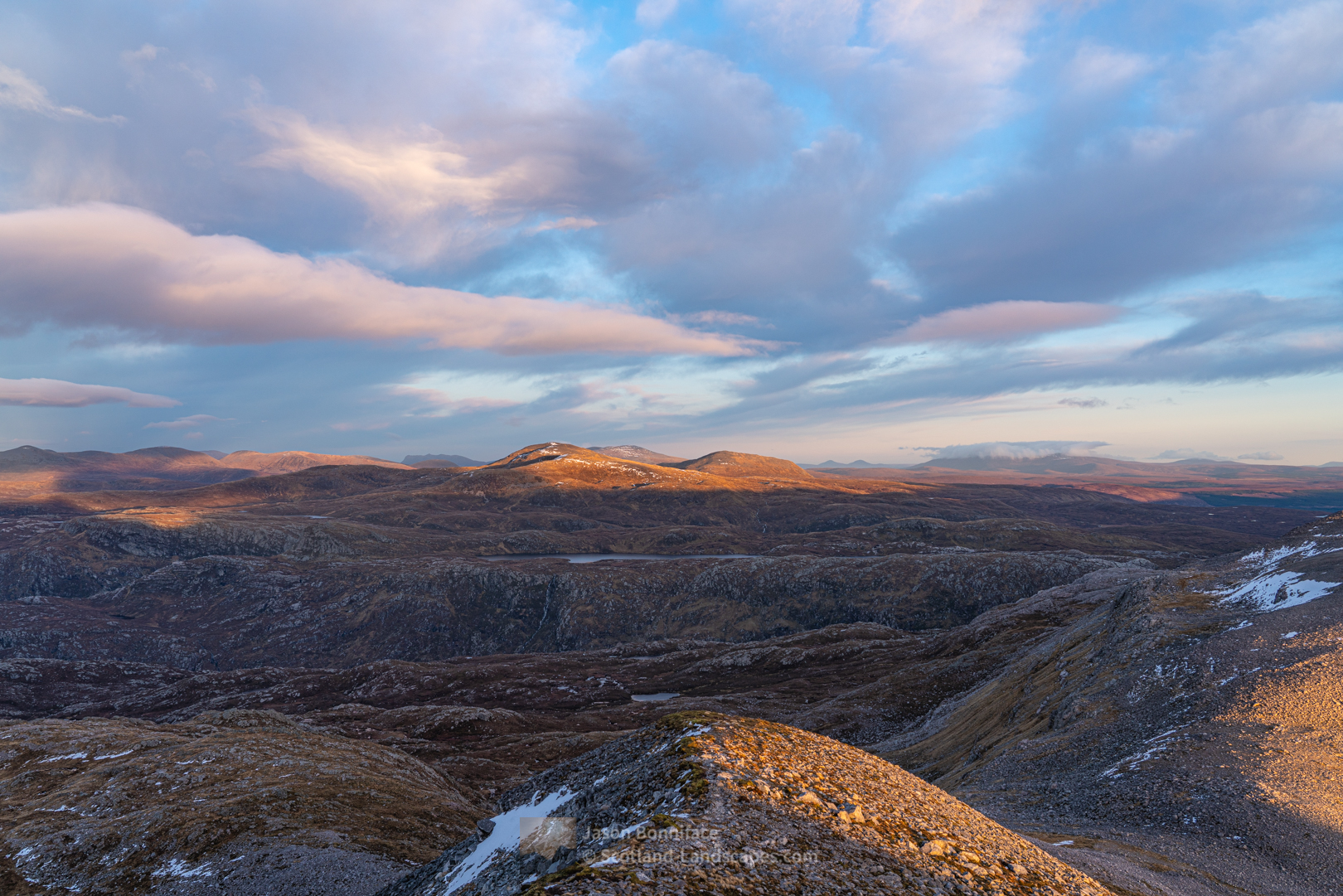 Beinn Leoid and the wilderness at the head of Glen Coul from the east ridge of Glas Bheinn