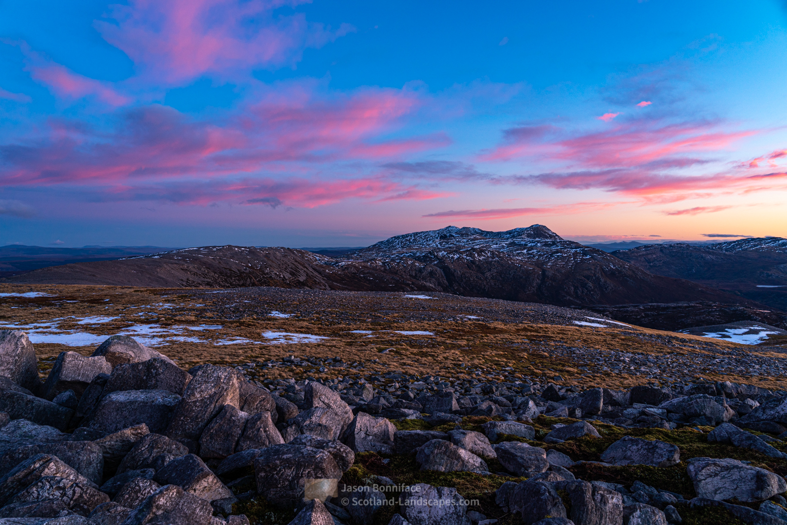 Pink clouds and the Assynt giants, Ben More Assynt and Conival