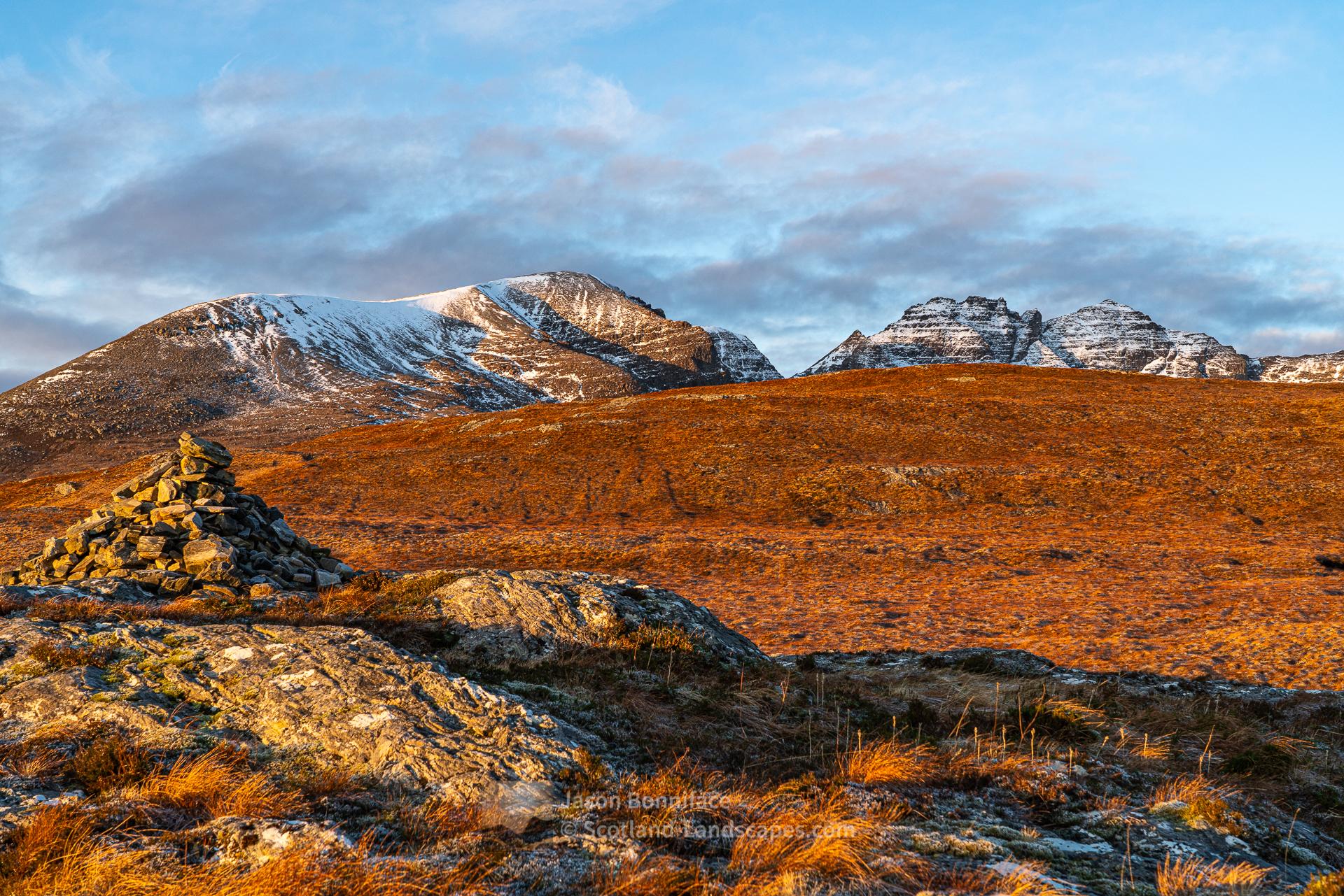 Morning sun on the Toll an Lochain peaks of An Teallach