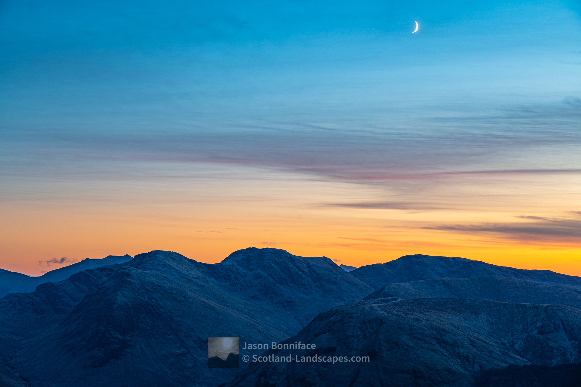 Moon Over Sgor na h-Ulaidh, Glencoe, Lochaber