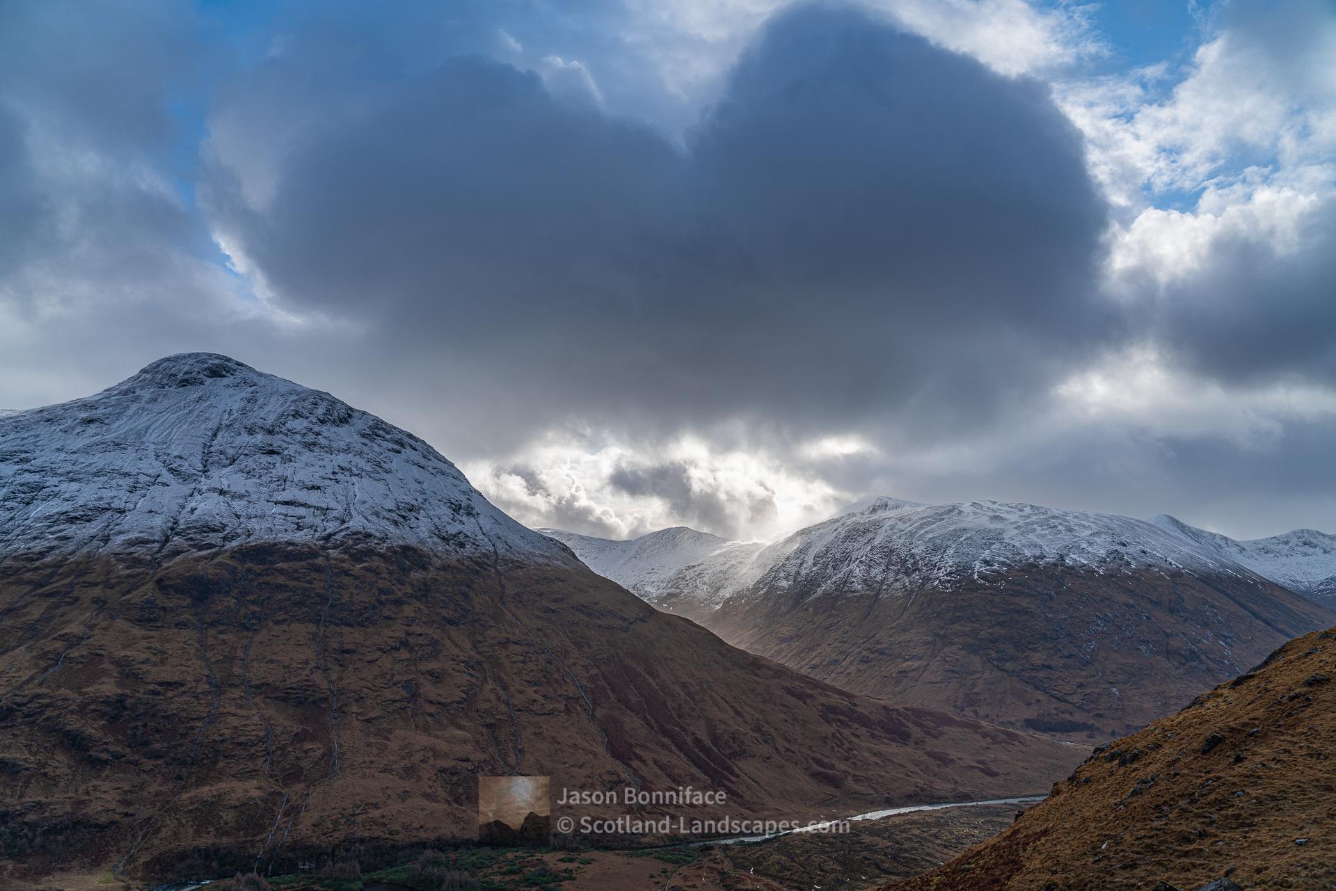 Stob Dubh and Stob Coir' an Albannaich on the east side of Glen Etive from Creag na Caillich