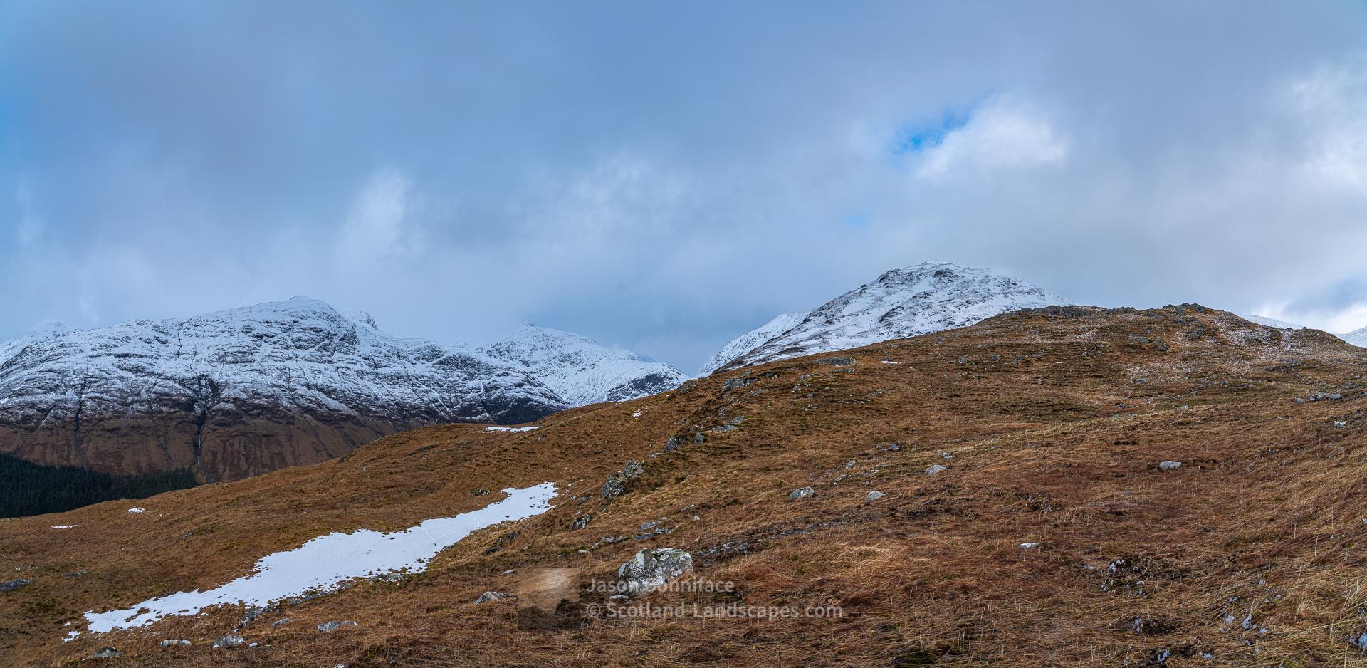 Meall a' Bhuiridh and the Corbett Beinn Maol Chaluim on the west side of Glen Etive