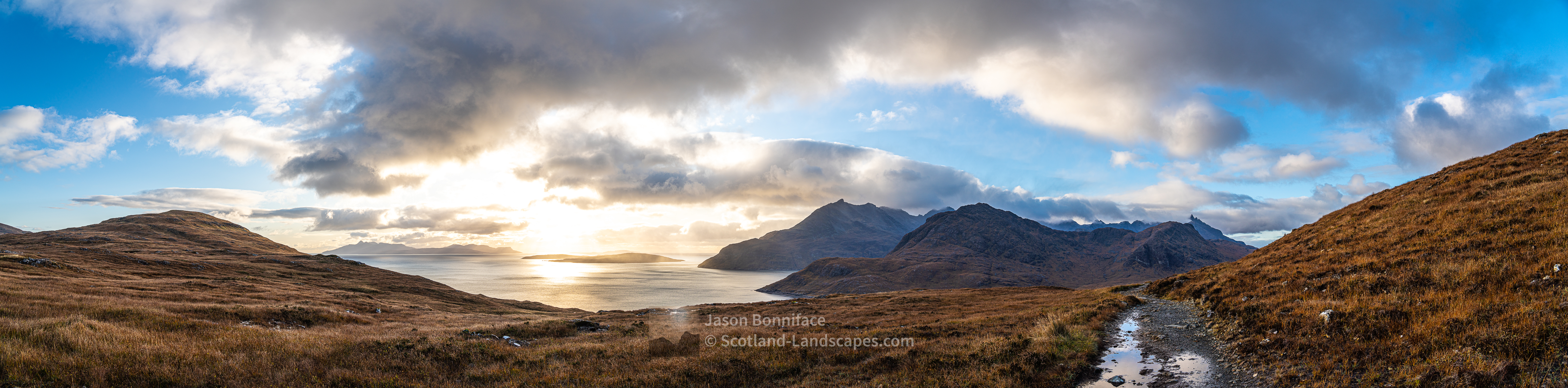 Am Mam Panorama - Rum, Soay & Black Cuillin, Skye