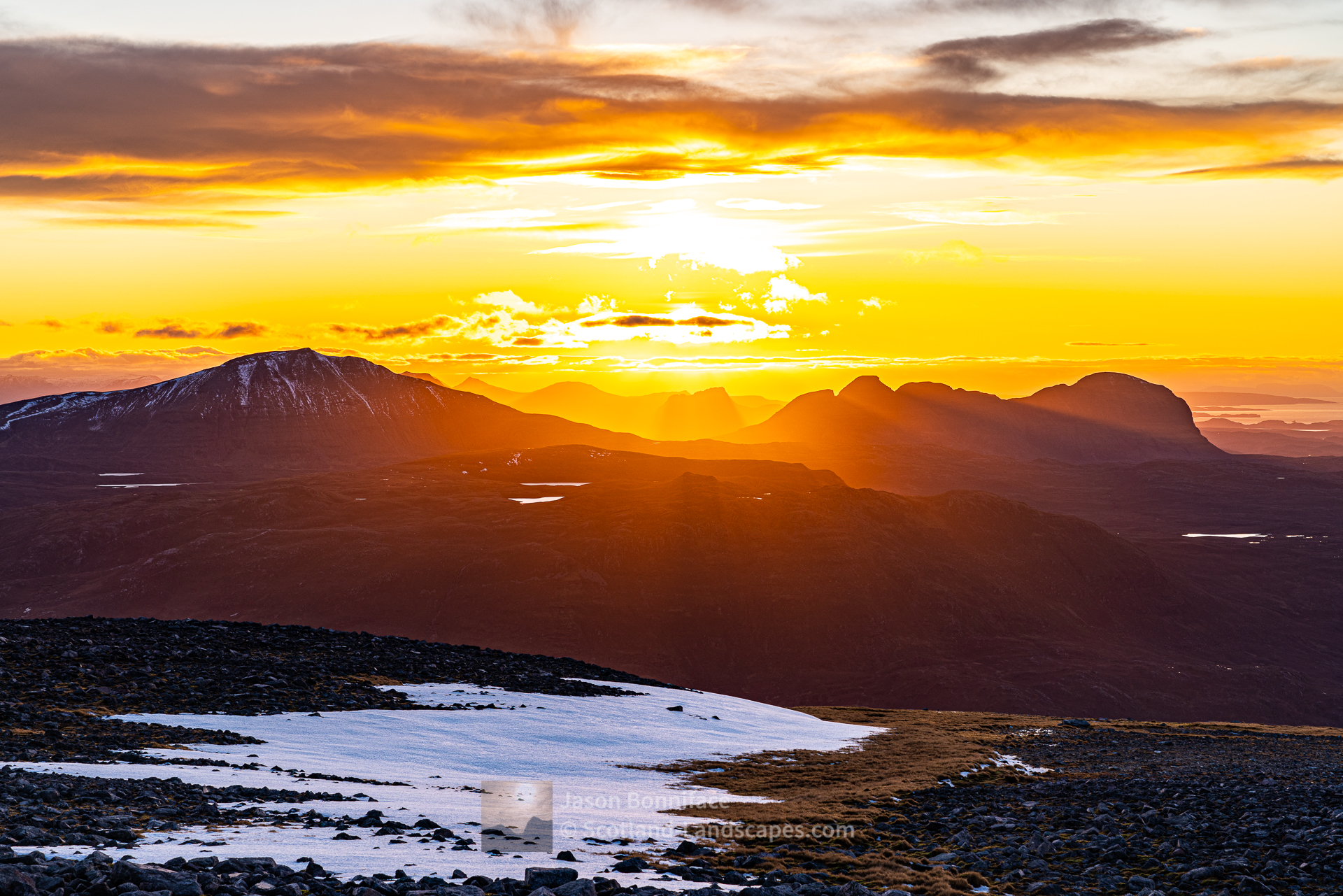 Assynt Setting Sun, Canisp, Stac Pollaidh and Suilven, Assynt & Ullapool