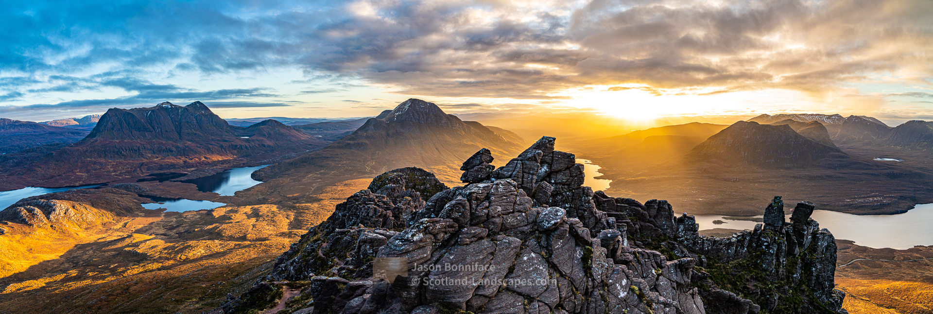 Morning on Stac Pollaidh - A Panorama, Assynt & Ullapool