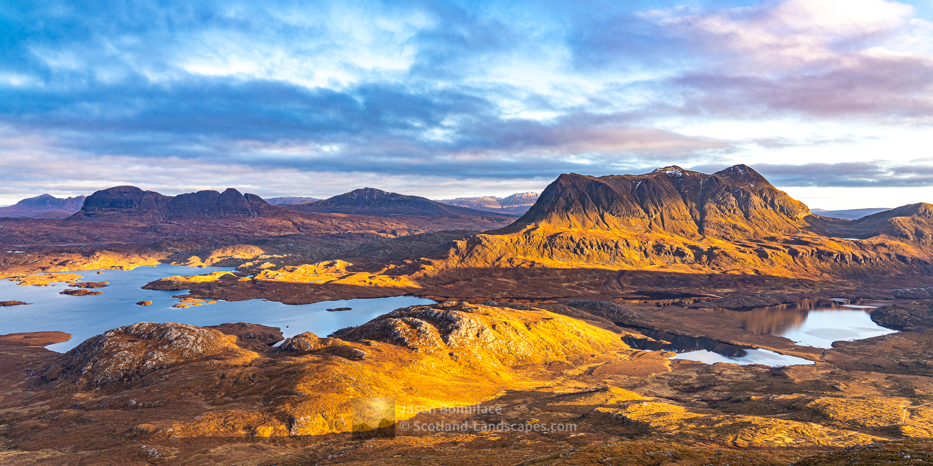 Suilven, Canisp, Cul Mor from Stac Pollaidh, Assynt & Ullapool
