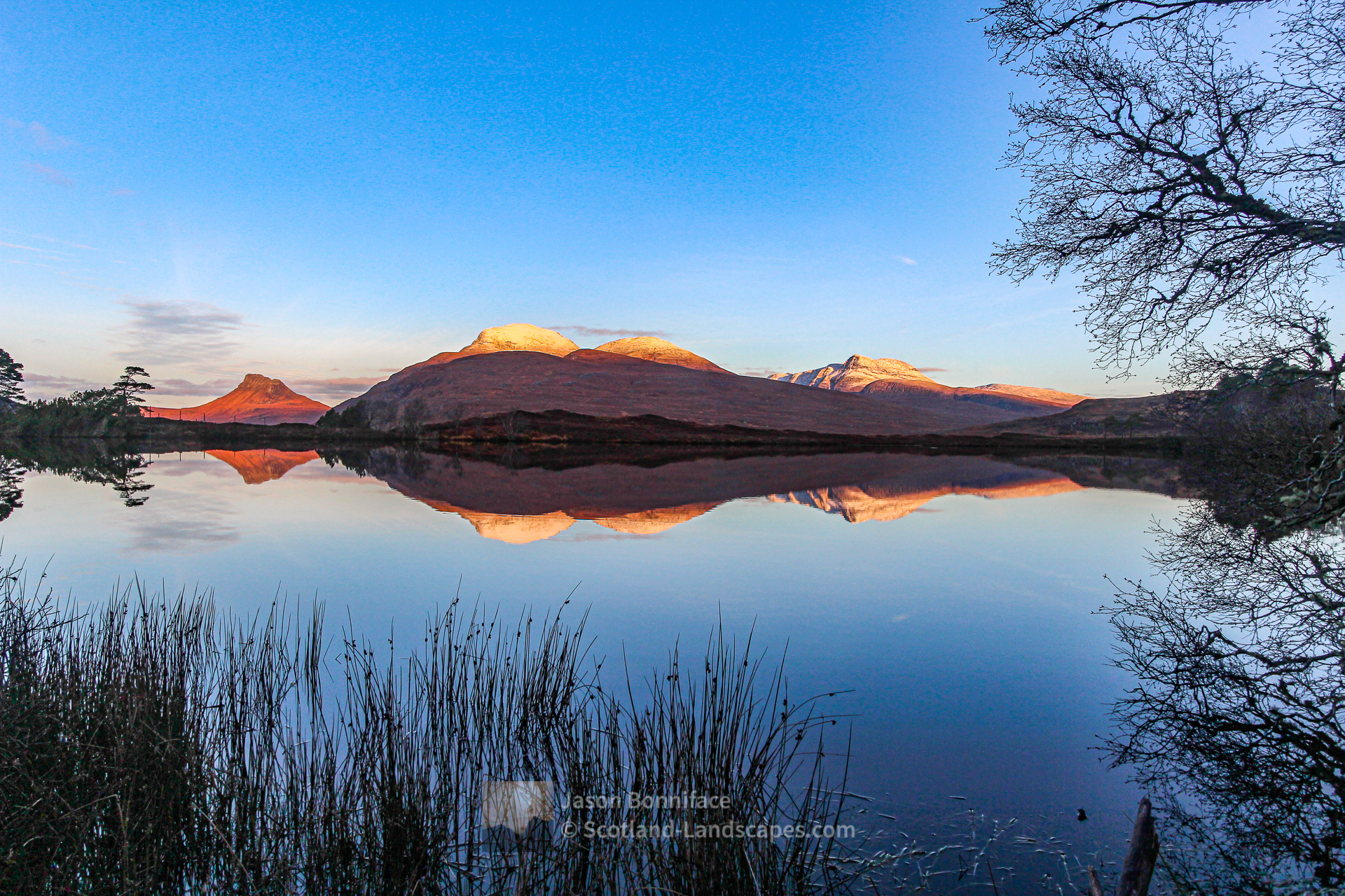 Morning Sunlit Peaks - Stac Pollaidh, Cul Beag and Cul Mor, Assynt & Ullapool