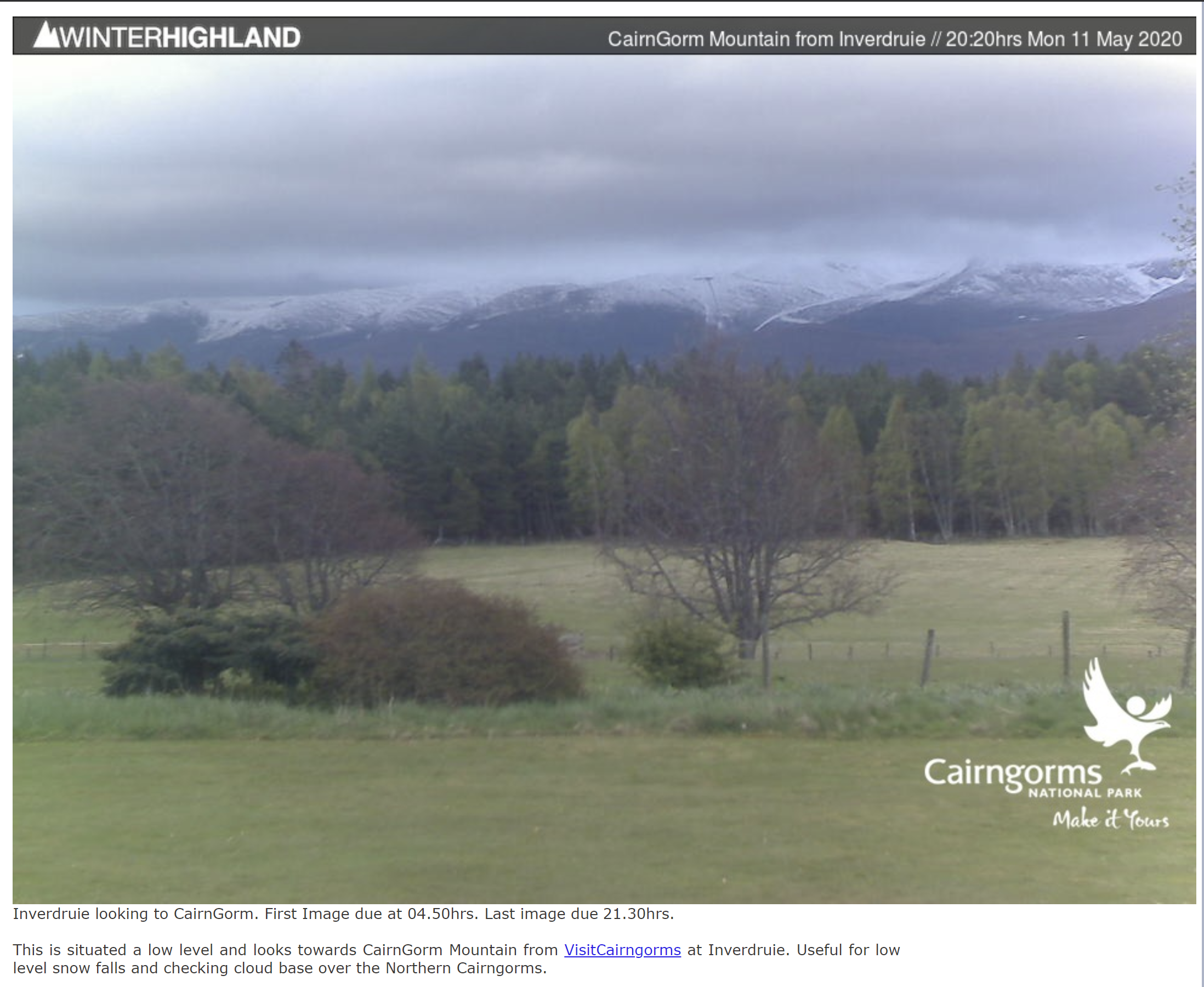 May snow in the northern Cairngorms 11th May 2020, from Winterhighland/Cairngorms National Park.