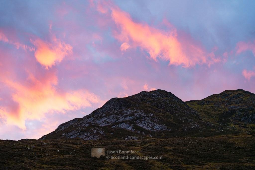 Fiery Clouds at Sunset, An Tudair Beag, Glen Affric