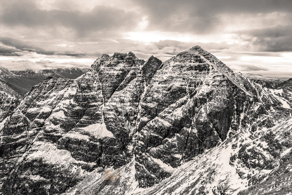 An Teallach - Sgurr Fiona, Lord Berkeley's Seat and Corrag Bhuidhe (B&W), Torridon & Fisherfield