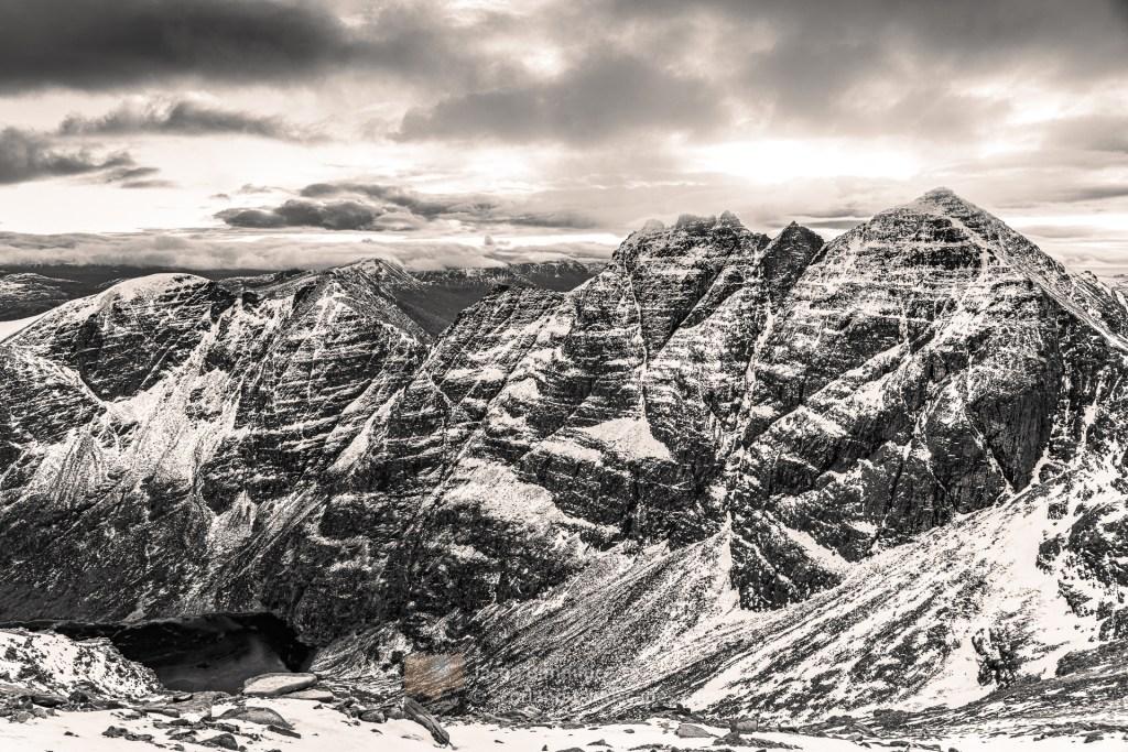 An Teallach Peaks Across Toll an Lochain (B&W), Torridon & Fisherfield