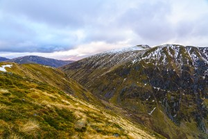 Sron a' Choire Ghairbh and Cam Bhealach from the summit of Meall Dubh, Lochaber