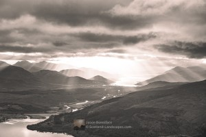 Crepuscular Rays over Fort William and Loch Linnhe from Meall Coire Lochain (B&W), Lochaber