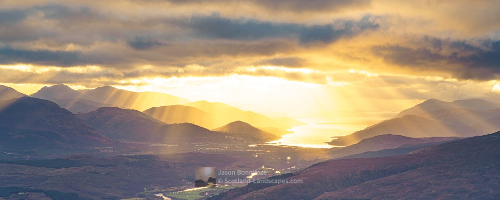 Crepuscular Rays over Fort William and Loch Linnhe from Meall Coire Lochain (Pano), Lochaber
