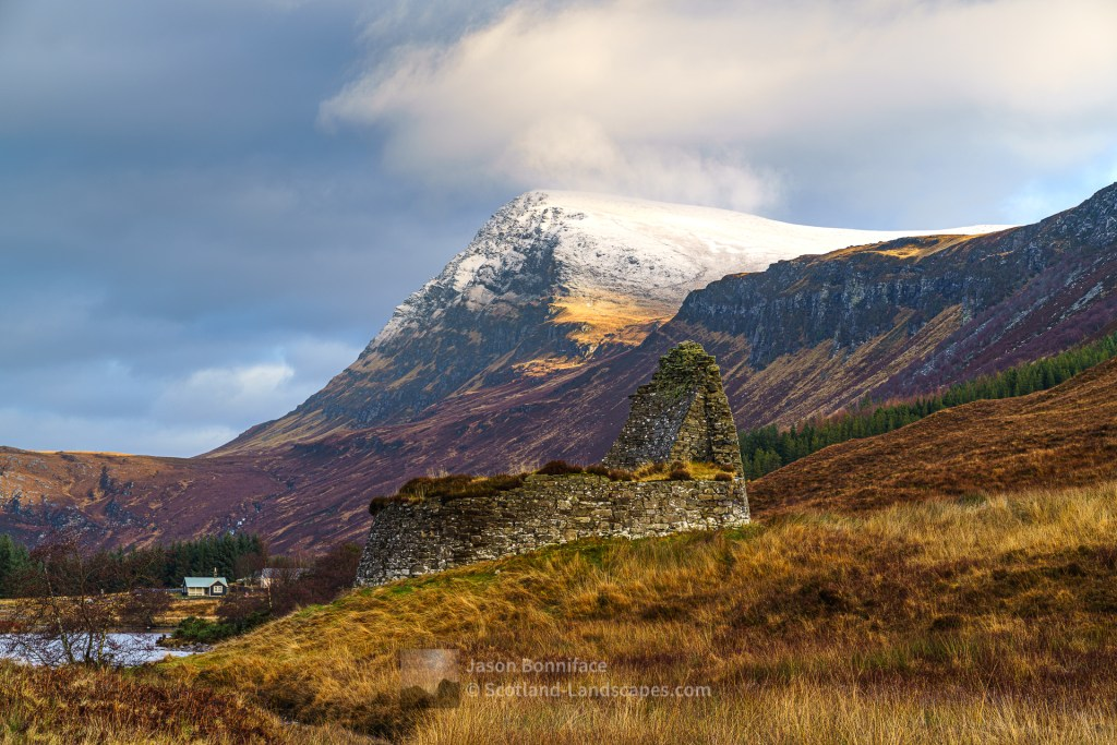Dun Dornaigil Broch, Allnacaillich and Ben Hope, Strath More, Northern Sutherland