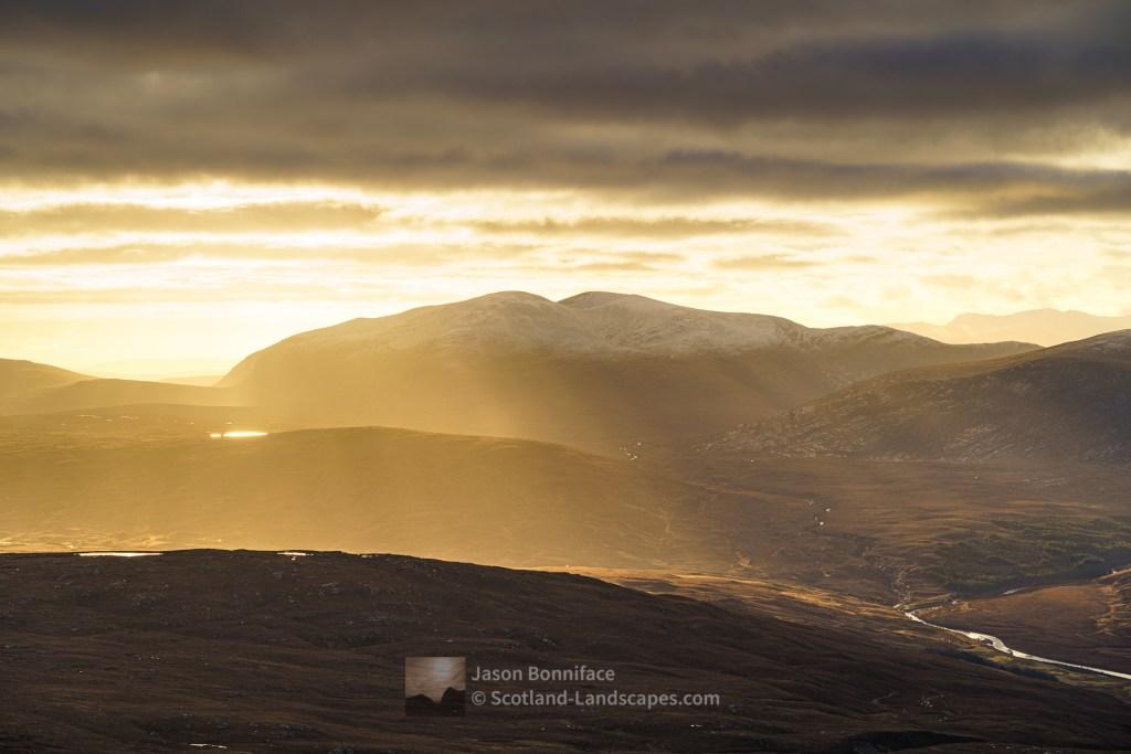 Ben Hee and Upper Strath More - Winter Sunlight, Northern Sutherland