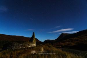 Dun Dornaigil Broch and Ben Hope by night, Northern Sutherland