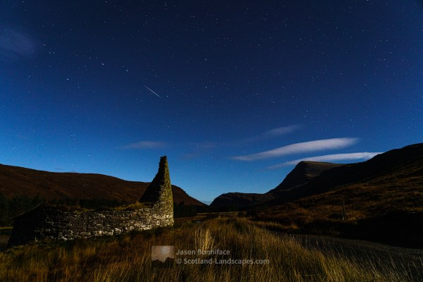 Dun Dornaigil Broch and Ben Hope by night, Northern Sutherland