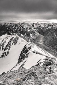 South from the summit of Ciste Dubh to Aonach Meadhoin and Sgurr an Fhuarail (B&W), Lochalsh & Knoydart