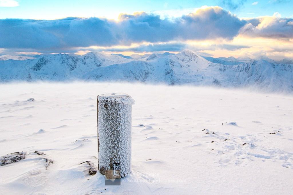 The Summit of Beinn Fhada (Ben Attow) on a Winters Afternoon, Lochalsh & Knoydart