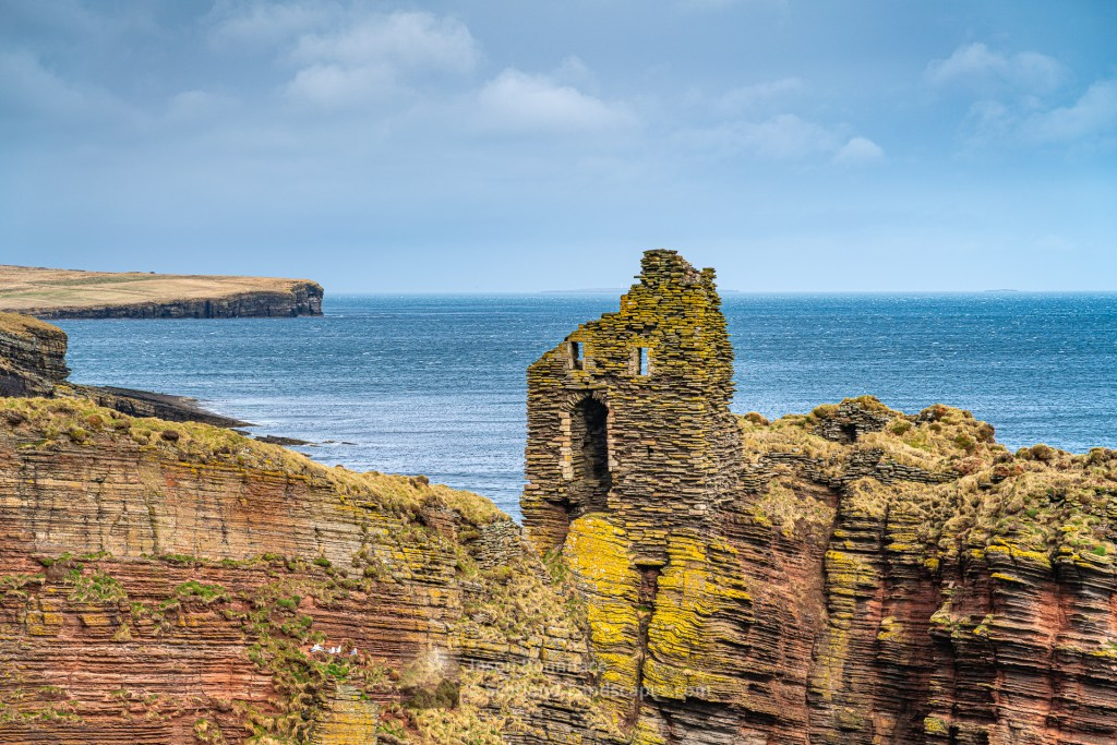 Bucholly Castle from the South, Skirza Head beyond, Caithness
