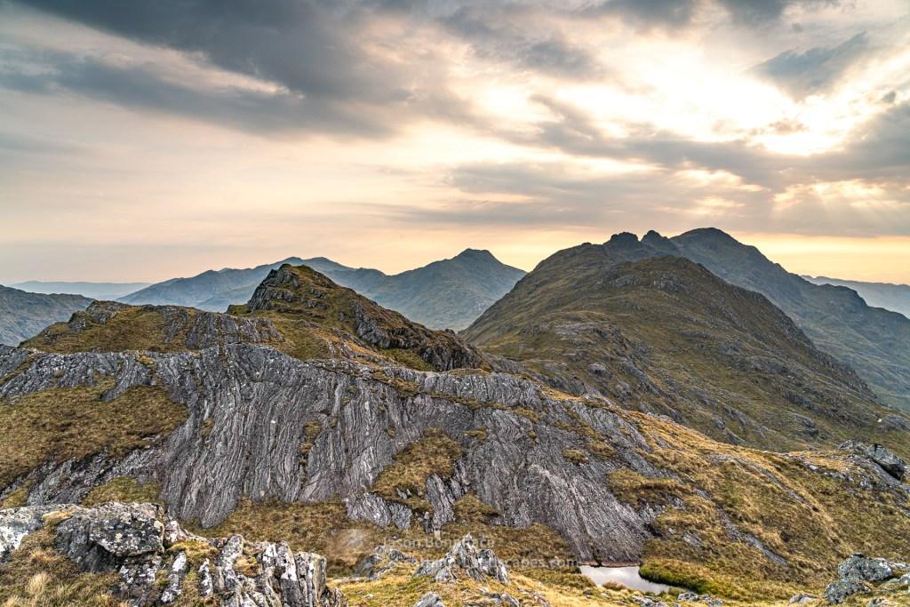 Evening - Sgurr a' Choire-bheithe from Sgurr Airigh na Beinne, Lochalsh & Knoydart