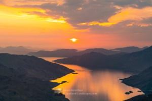 Sun Descending into the Haze from Sgurr a' Choire-bheithe, Lochalsh & Knoydart