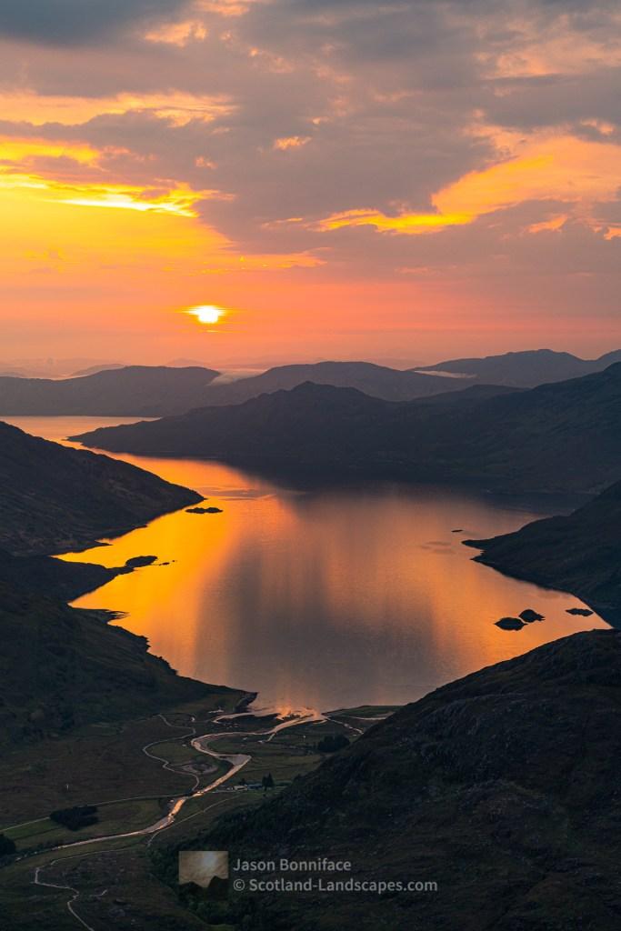 Barrisdale and Loch Hourn at Sunset from Sgurr a' Choire-bheithe, Lochalsh & Knoydart