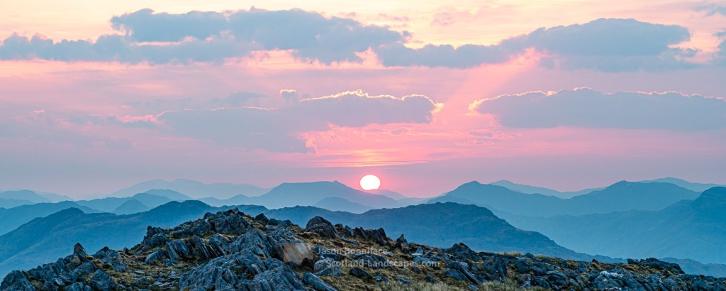 Sunrise in the North East from Sgurr a' Choire-bheithe, Lochalsh & Knoydart
