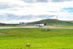 Landing at Sumburgh Airport, Shetland