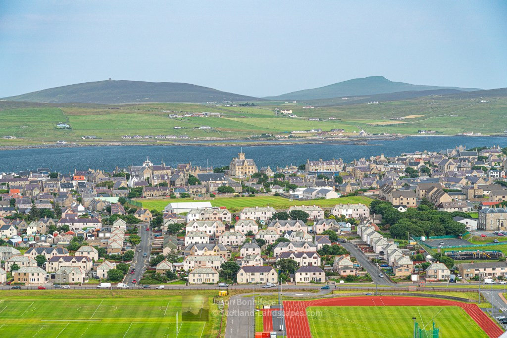 Lerwick Town Hall from South Staney Hill, Shetland