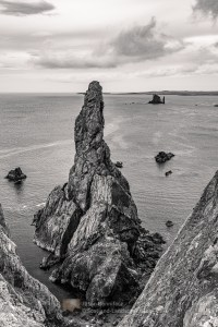 The Outrageous Gordi Stack and The Drongs off of the Ness of Hillswick (B&W), Shetland