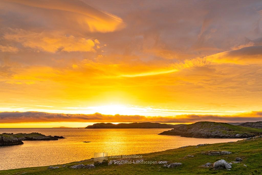 Sunset Over the Ness of Hillswick from Nibon - 2, Shetland