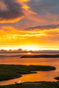 The Isle of Nibon and Ness of Hillswick at Sunset, Shetland