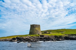 Mousa Broch from the Sea, Shetland